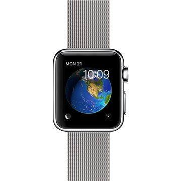 Chytré hodinky Apple Watch 38mm Nerez ocel s perlově šedým řemínkem z tkaného nylonu (MMFH2HC/A)