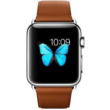 Chytré hodinky Apple Watch 38mm Nerez ocel se sedlově hnědým řemínkem s klasickou přezkou (MMF72HC/A)