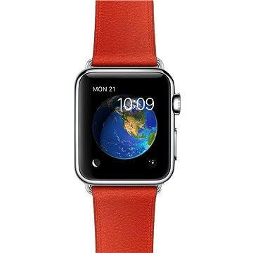 Chytré hodinky Apple Watch 38mm Nerez ocel s červeným koženým řemínkem s klasickou přezkou (MMF82HC/A)
