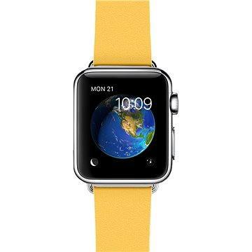 Chytré hodinky Apple Watch 38mm Nerez ocel s měsíčkově žlutým řemínkem s moderní přezkou - velikost M (MMFF2HC/A)