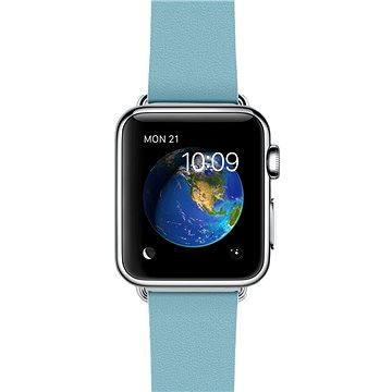 Chytré hodinky Apple Watch 38mm Nerez ocel s ledňáčkově modrým řemínkem s moderní přezkou - velikost S (MMF92VR/A)