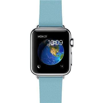 Chytré hodinky Apple Watch 38mm Nerez ocel s ledňáčkově modrým řemínkem s moderní přezkou - velikost M (MMFC2HC/A)