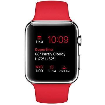 Chytré hodinky Apple Watch 42mm Nerez ocel s červeným řemínkem (MLLE2HC/A)
