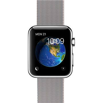 Chytré hodinky Apple Watch 42mm Nerez ocel s perlově šedým řemínkem z tkaného nylonu (MMG02HC/A)