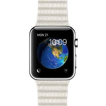 Chytré hodinky Apple Watch 42mm Nerez ocel s bílým koženým řemínkem - velikost M (MMFV2HC/A)