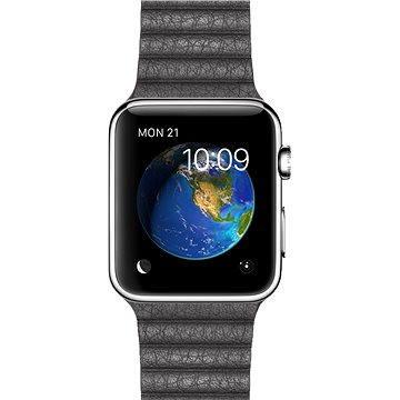 Chytré hodinky Apple Watch 42mm Nerez ocel s bouřkově šedým koženým řemínkem - velikost M (MMFX2HC/A)