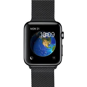 Chytré hodinky Apple Watch 42mm Vesmírně černá nerez ocel s černým milánským tahem (MMG22HC/A)