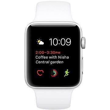 Chytré hodinky Apple Watch Series 1 38mm Stříbrný hliník s bílým sportovním řemínkem (MNNG2CN/A)
