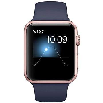 Chytré hodinky Apple Watch Series 1 42mm Růžově zlatý hliník s půlnočně modrým sportovním řemínkem (MNNM2CN/A)