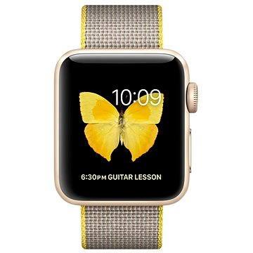 Chytré hodinky Apple Watch Series 2 38mm Zlatý hliník se žlutým / světle šedým řemínkem z tkaného nylonu (MNP32CN/A)