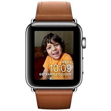Chytré hodinky Apple Watch Series 2 38mm Nerez ocel se sedlově hnědým řemínkem s klasickou přezkou (MNP72CN/A)