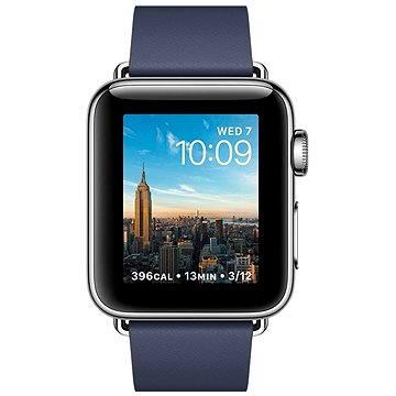 Chytré hodinky Apple Watch Series 2 38mm Nerezová ocel s půlnočně modrým řemínkem s moderní přezkou - středním (MNP92CN/A)