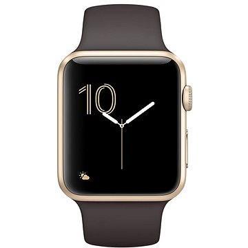 Chytré hodinky Apple Watch Series 2 42mm Zlatý hliník s kakaově hnědým sportovním řemínkem (MNPN2CN/A)