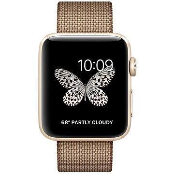Chytré hodinky Apple Watch Series 2 42mm Zlatý hliník s kávovo-karamelově hnědým řemínkem z tkaného nylonu (MNPP2CN/A)