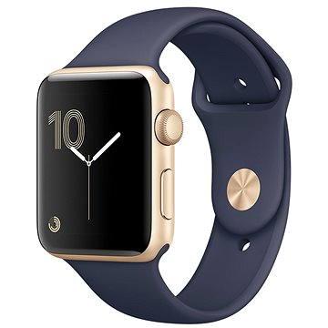 Chytré hodinky Apple Watch Series 2 42mm Zlatý hliník s půlnočně modrým sportovním řemínkem
