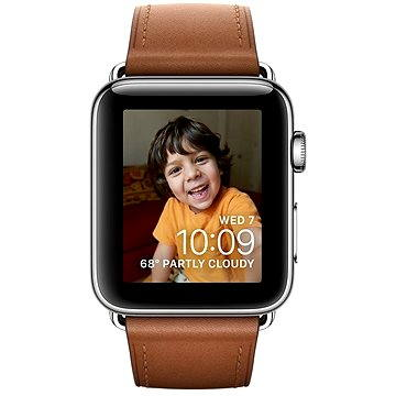 Chytré hodinky Apple Watch Series 2 42mm Nerez ocel se sedlově hnědým řemínkem s klasickou přezkou (MNPV2CN/A)