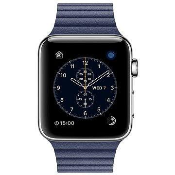 Chytré hodinky Apple Watch Series 2 42mm Nerez ocel s půlnočně modrým koženým řemínkem - středním (MNPW2CN/A)