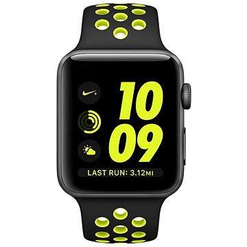 Chytré hodinky Apple Watch Series 2 Nike+ 38mm Vesmírně šedý hliník s černým / Volt sportovním řemínkem Nike (MP082CN/A)