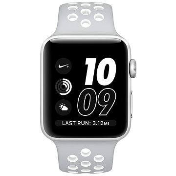 Chytré hodinky Apple Watch Series 2 Nike+ 42mm Stříbrný hliník s matně stříbrným / bílým sportovním řemínkem Nike (MNNT2CN/A)