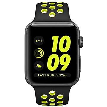 Chytré hodinky Apple Watch Series 2 Nike+ 42mm Vesmírně šedý hliník s černým / Volt sportovním řemínkem Nike (MP0A2CN/A)