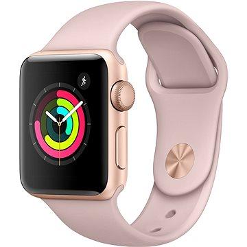 Chytré hodinky Apple Watch Series 3 38mm GPS Zlatý hliník s pískově růžovým sportovním řemínkem (MQKW2CN/A)