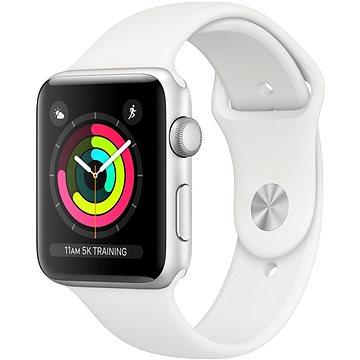 Apple Watch Series 3 42mm GPS Stříbrný hliník s bílým sportovním řemínkem (MTF22CN/A)