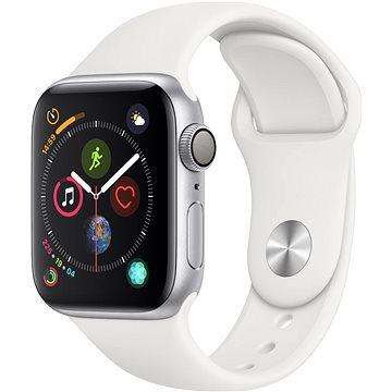 Apple Watch Series 4 40mm Stříbrný hliník s bílým sportovním řemínkem (MU642HC/A)