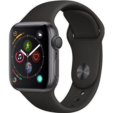 Apple Watch Series 4 40mm Vesmírně černý hliník s černým sportovním řemínkem (MU662HC/A)