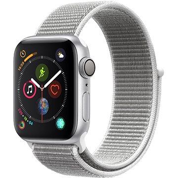 Apple Watch Series 4 40mm Stříbrný hliník s mušlově bílým bílým provlékacím sportovním řemínkem (MU652HC/A)