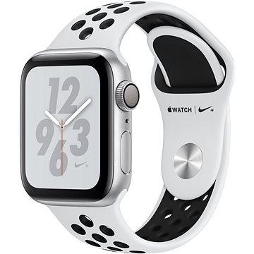 Apple Watch Series 4 Nike+ 40mm Stříbrný hliník s platinovým/černým sportovním řemínkem Nike (MU6H2HC/A)