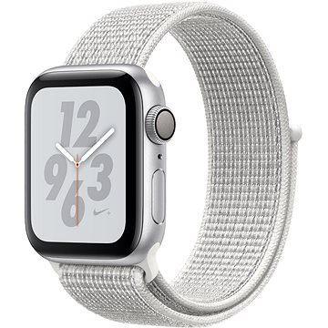 Apple Watch Series 4 Nike+ 40mm Stříbrný hliník se sněhově bílým provlékacím sportovním řemínkem Nik (MU7F2HC/A)
