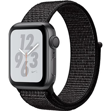 Apple Watch Series 4 Nike+ 40mm Vesmírně černý hliník s černým provlékacím sportovním řemínkem Nike (MU7G2HC/A)