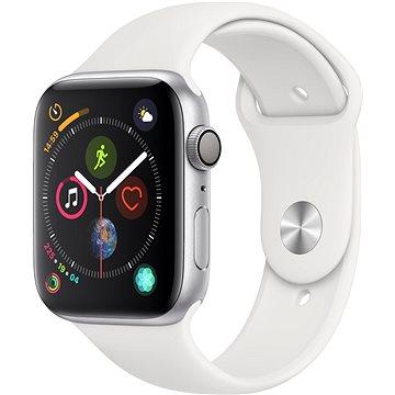 Apple Watch Series 4 44mm Stříbrný hliník s bílým sportovním řemínkem (MU6A2HC/A)