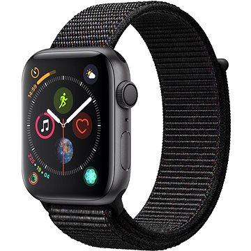 Apple Watch Series 4 44mm Vesmírně černý hliník s černým provlékacím sportovním řemínkem (MU6E2HC/A)