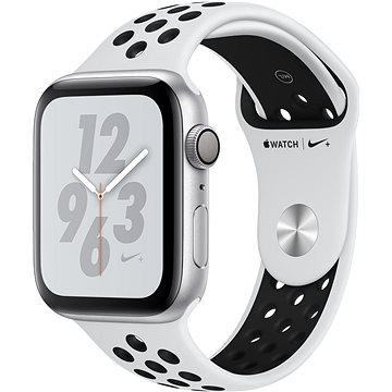 Apple Watch Series 4 Nike+ 44mm Stříbrný hliník s platinovým/černým sportovním řemínkem (MU6K2HC/A)
