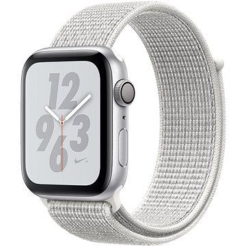 Apple Watch Series 4 Nike+ 44mm Stříbrný hliník se sněhově bílým provlékacím sportovním řemínkem (MU7H2HC/A)