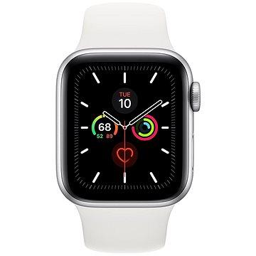 Apple Watch Series 5 40mm Stříbrný hliník s bílým sportovním řemínkem (MWV62VR/A)