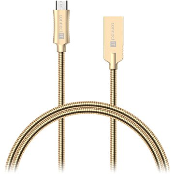 CONNECT IT Wirez Steel Knight Micro USB 1m, metallic gold (CCA-3010-GD)
