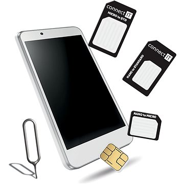 CONNECT IT Nano a micro SIM adaptér, černý (CFF-0050-BK)