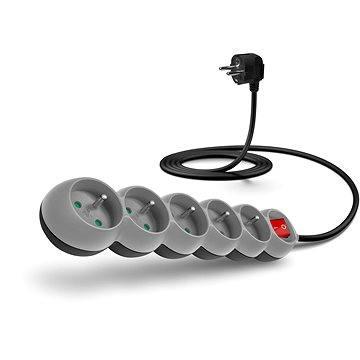 CONNECT IT prodlužovací 230V, 5 zásuvek + vypínač, 2m, šedý (CI-1010)