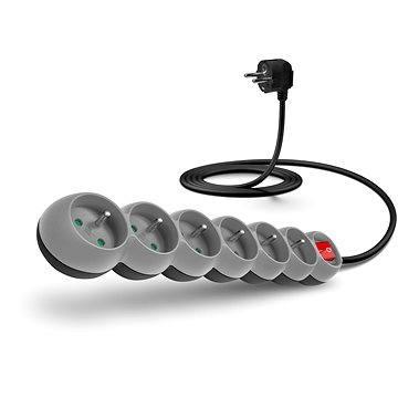 CONNECT IT prodlužovací 230V, 6 zásuvek + vypínač, 2m, šedý (CI-1004)
