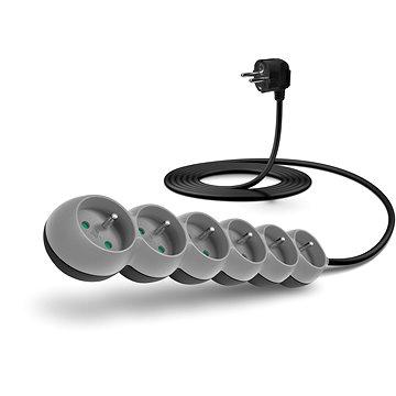 CONNECT IT prodlužovací 230 V, 6 zásuvek, 3m, šedý (CI-1329)