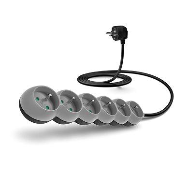 CONNECT IT prodlužovací 230 V, 6 zásuvek, 2m, šedý (CI-1330)
