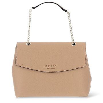 GUESS Robyn Saffiano-Look Large Shoulder Bag Tan (190231249467)