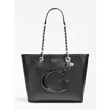 GUESS Chrissy Patent-Look Logo Front Shopper Black (190231277767)