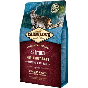 Carnilove salmon for adult cats – sensitive & long hair 2 kg (8595602512287)