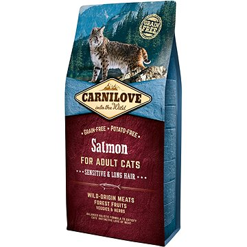Carnilove salmon for adult cats – sensitive & long hair 6 kg (8595602512270)