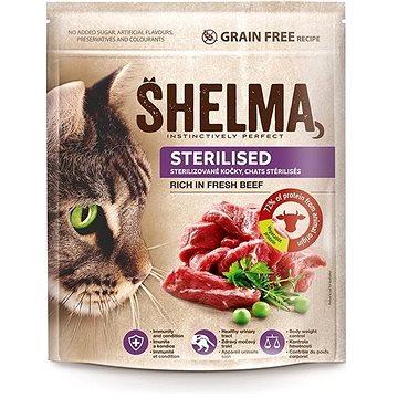 Shelma Sterile bezobilné granule s čerstvým hovězím pro dospělé kočky 750 g (8595606405295)
