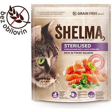 Shelma Sterile bezobilné granule s čerstvým lososem pro dospělé kočky 750 g (8595606405288)