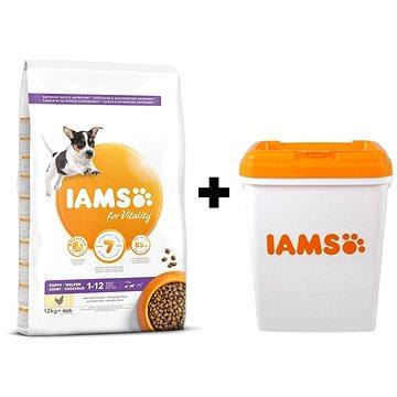 IAMS Dog Puppy Small & Medium Chicken 12 kg + IAMS Dog nádoba na krmivo 15 kg